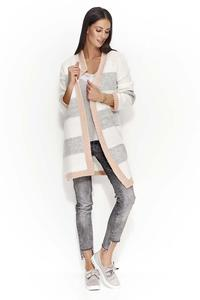 Salmon-Gray Ecru Long Striped Cardigan without a fastener