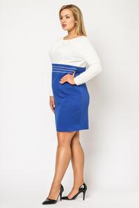 Blue&White Elegant Knee Length Dress PLUS SIZE