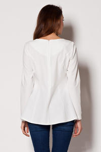 Bateau Neck Dippy Hem Ecru Top with Seam Back