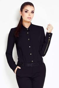 Black Collar Shirt with Metallic Buttons and Zipper Sleeves