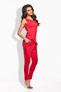 Red Tapered Legs Self Tie Bow Ladies Jumpsuit