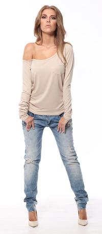 Beige Classic Long Sleeved Top with Pocket