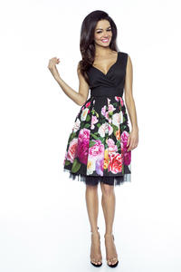 Black Coctail Floral Pattern Dress with Tulle