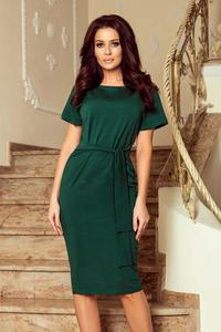 Green Self Tie Belt Pencil Dress