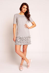 Grey Little Frills on the Hem Short Dress