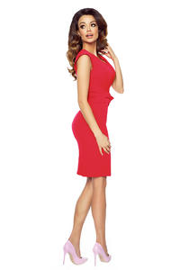 Red Elegant Bodycon Fit Dress with Bow