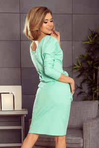 Mint Casual Sweatshirt Dress with a Neckline at the Back