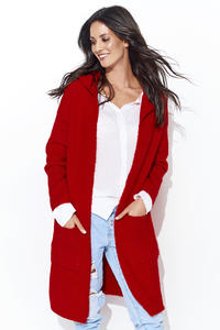 Red Long Cardigan without Hood
