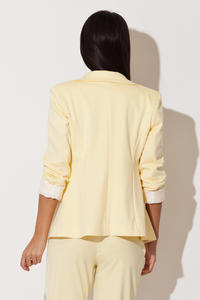 Yellow Long Lapel Blazer with Contrast Cuffs