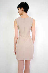 Beige Simple Mini Sleeveless Dress