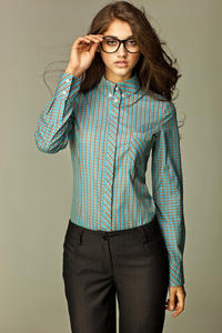 Varied Check Seam Turquoise Shirt with Concealed Button Fastening