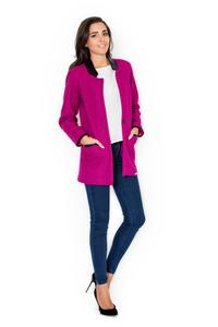Pink Oversized Casual Jacket with Eco-Leather Details
