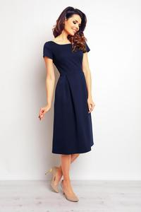 Dark Blue Classic Short Sleeves Midi Dress