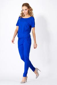 Blue Loose Top and Slim Pants Ladies Jumpsuit