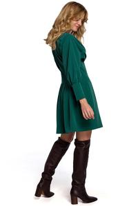 Green Wrap Front Long Sleeves Dress