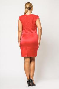 Red Elegant Evening Dress with Lace Top