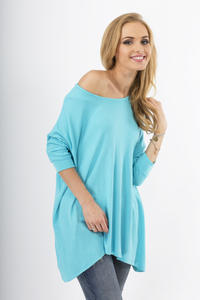 Blue Oversized Bat Sleeves Blouse