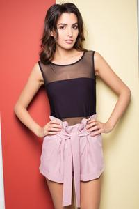Pink High Wrinkled Waist Shorts with Self Tie Belt