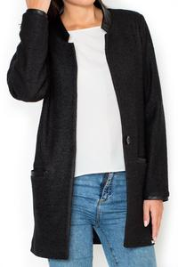 Black Oversized Casual Jacket with Eco-Leather Details