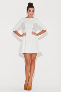 Elbow Sleeve Fit and Flare Ecru Dress with Lace Front Panels