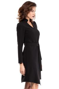Black Asymmetrical Cut V-Neckline Dress with a Belt