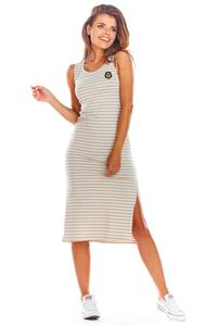 Beige Cotton Fitted Dress with Stripes