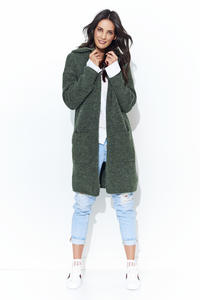 Khaki Long Cardigan without Hood