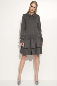 Dark Grey Dress with Collar&Frills