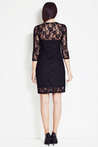 Black Floral Lace Shift Dress with 3/4 Sleeves