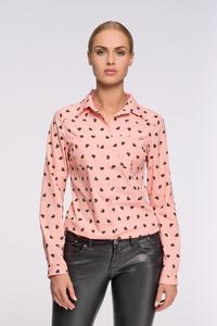 Apricot Casual Ladies Shirt with Hearts Pattern