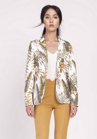 Ecru Classic Jacket in Tropical Leaves