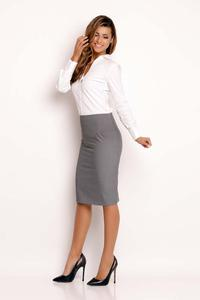 Grey Slim Fit Knee Length Skirt