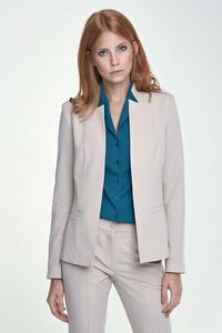 Beige Elegant Stand-up Collar Ladies Blazer