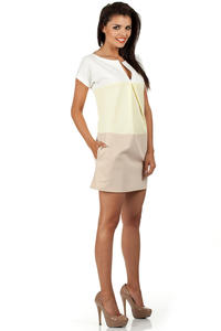 Pale Yellow Mint Modesty Casual Mini Dress