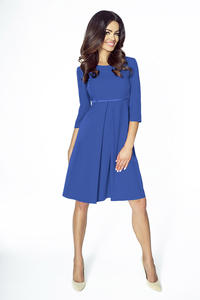 Blue Flared 3/4 Sleeves Coctail Dress
