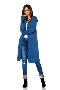 Blue Hooded Long Cardigan