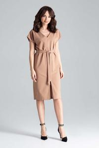 Brown Belted V-Neck Dress