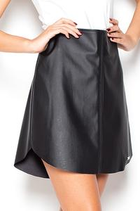 Black Faux Leather Flared Mini Skirt