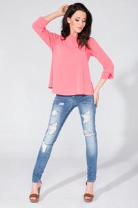 Pink Wrap Back 3/4 Sleeves Blouse