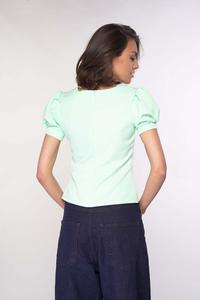 Blouse with Basque and Puffed Sleeves - Mint