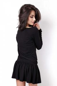 Black Long Sleeves Drawstring Wasit Mini Dress