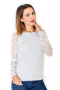 Ecru&Grey Long Lace Sleeves Cut Out Back Blouse