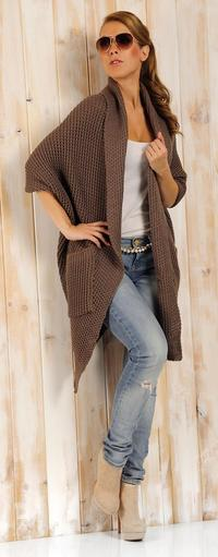 Cappuccino Oversized Cardigan with Pockets