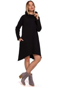 Knitted Asymmetrical Midi Dress (Black)
