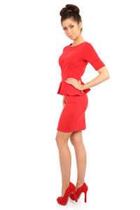 Red Bateau Neck Shift Dress with Frilled Bodice