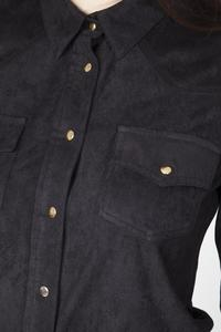 Black Suede Shirt with Pockets and Snaps Closure