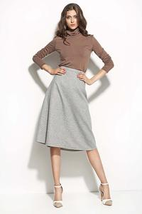 Grey Textured Midi Length Seam Skirt