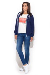 Blue Zipper Closure Hooded Jumper