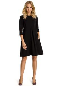 Black Flared Dress with Front Doublefold