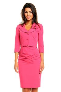 Pink Elegant Set Fitted Dress and Short Jacket with Flower